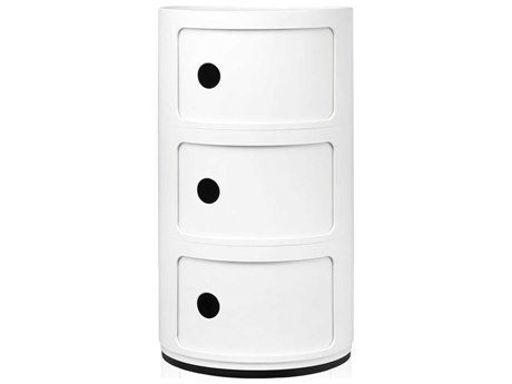 Kartell Componibili White Three-Door File Cabinet