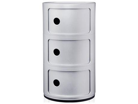 Kartell Componibili Silver Three-Door File Cabinet KAR4967SI