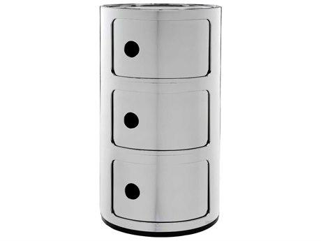 Kartell Componibili Chrome Three-Door File Cabinet KAR5967XX