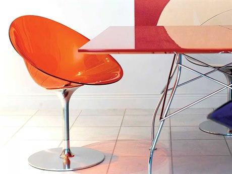Kartell Eros Transparent Orange Swivel Dining Side Chair KAR4835E3