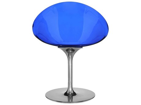 Kartell Eros Transparent Cobalt Swivel Dining Side Chair