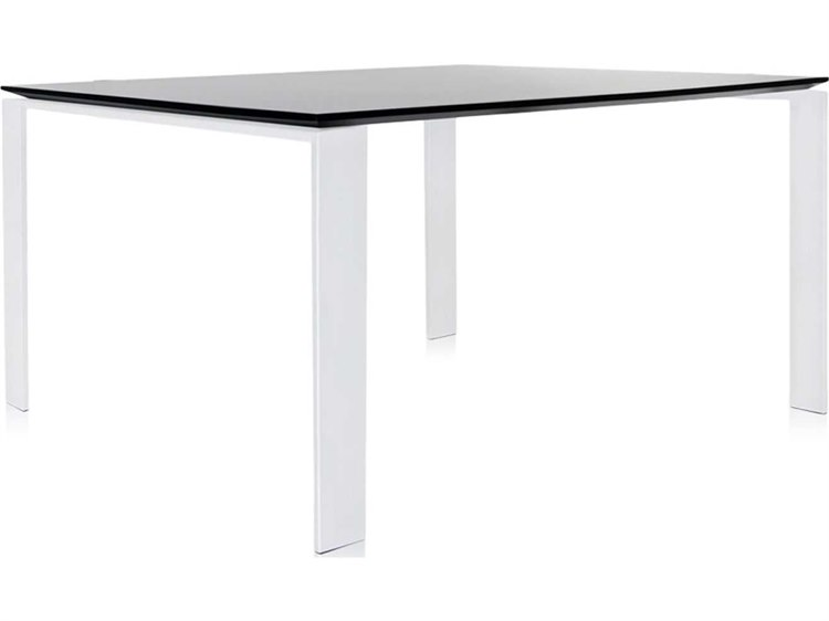 Kartell Four Black Top With White Legs 50 Wide Square Dining Table