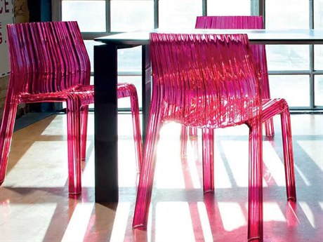 Kartell Frilly Transparent Fuchsia Dining Side Chair (Sold in 2) KAR5880D8