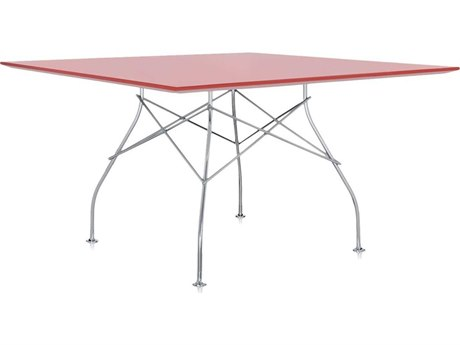 Kartell Glossy Red 52'' Wide Square Dining Table KAR4560E7