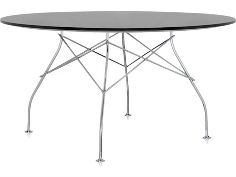 Kartell Glossy Black 52'' Wide Round Dining Table KAR45613P