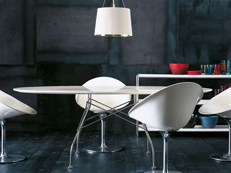 Kartell Glossy 79''L x 47''W Oval Dining Table