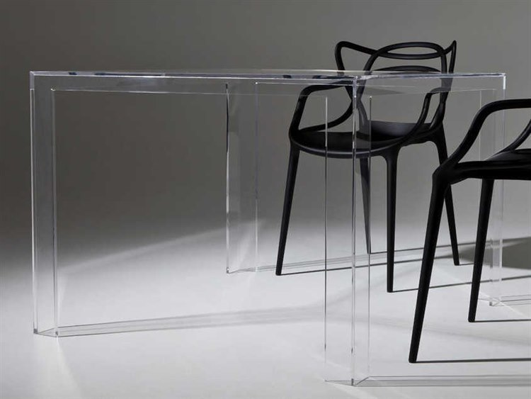 Kartell Invisible Transparent Crystal 39 Wide Square Dining Table