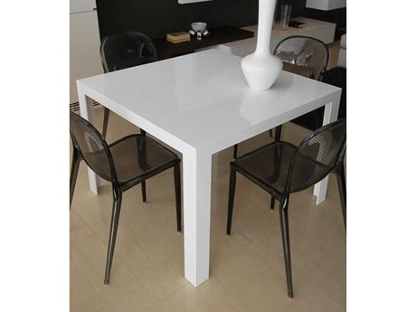 Kartell Invisible Glossy White 39'' Wide Square Dining Table KAR5070E5