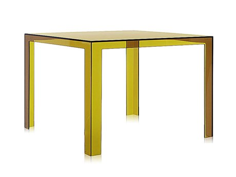 Kartell Invisible Transparent Seaweed Green 39'' Wide Square Dining Table KAR5070VA