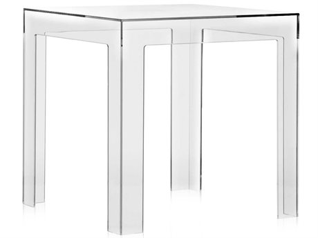 Kartell Jolly Transparent Crystal 16'' Wide Square End Table
