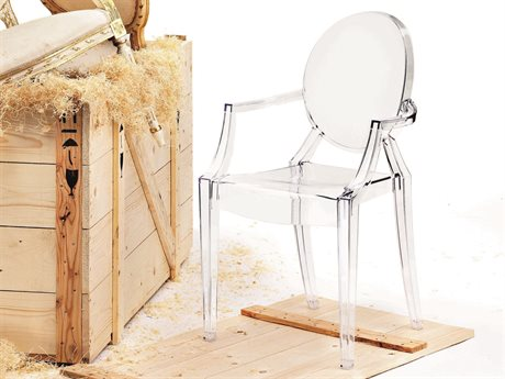 Kartell Louis Ghost Transparent Crystal Dining Arm Chair (Sold in 2)
