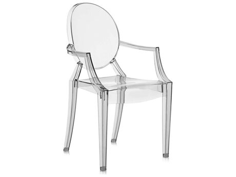 Kartell Louis Ghost Transparent Smoke Grey Dining Arm Chair (Sold in 2) KAR4852J1