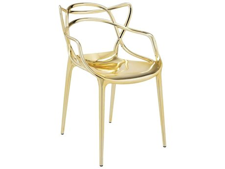 Kartell Masters Metallic Gold Dining Arm Chair (Sold in 2)