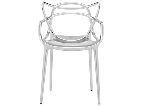 Kartell Masters Metallic Chrome Dining Arm Chair (Sold in 2) KAR5864XX