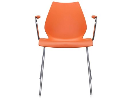 Kartell Maui Orange Dining Arm Chair (Sold in 2)