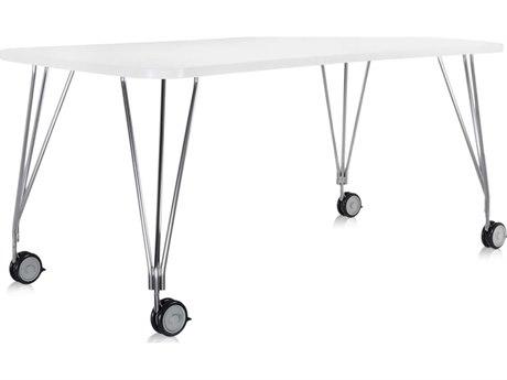Kartell Max White Computer Desk with Wheels KAR45112M