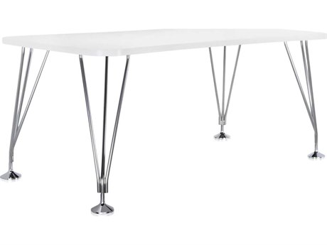 Kartell Max White Computer Desk without Wheels KAR45162M