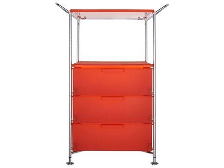 Kartell Mobil Orange Three-Drawer File Cabinet without Wheels
