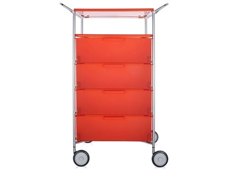 Kartell Mobil Orange Four-Drawer File Cabinet with Wheels