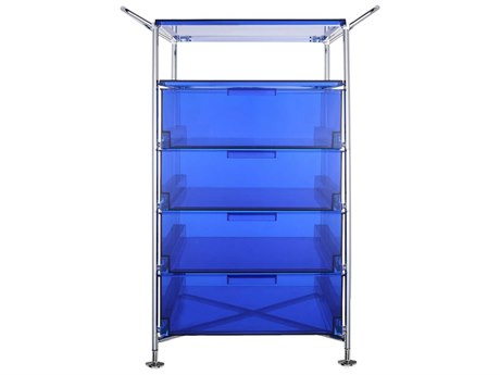 Kartell Mobil Transparent Blue Four-Drawer File Cabinet without Wheels