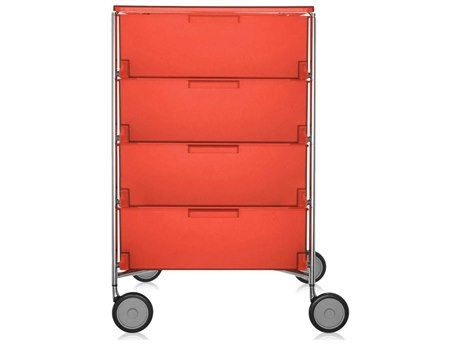 Kartell Mobil Orange 19'' Wide Rectangular Four Drawers Chest of Drawers with Wheels