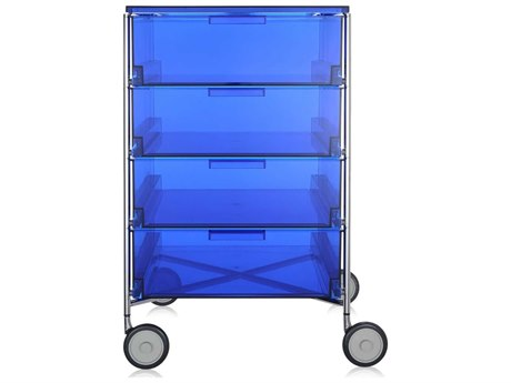 Kartell Mobil Transparent Blue 19'' Wide Rectangular Four Drawers Chest of Drawers with Wheels