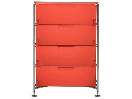 Kartell Mobil Orange 19'' Wide Rectangular Four Drawers Chest of Drawers without Wheels