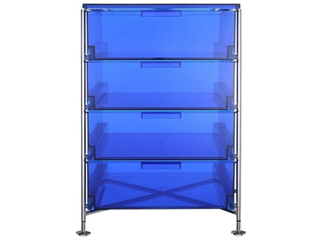Kartell Mobil Transparent Blue 19'' Wide Rectangular Four Drawers Chest of Drawers without Wheels