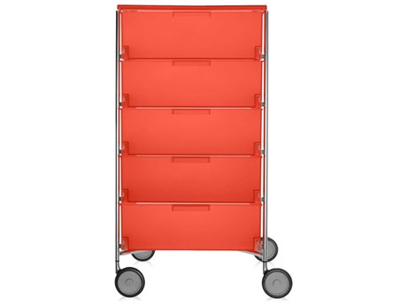 Kartell Mobil Orange 19'' Wide Rectangular Five Drawers Chest of Drawers with Wheels
