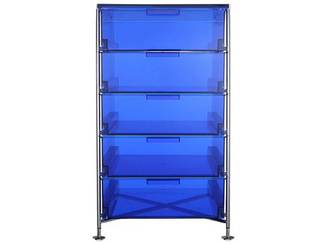 Kartell Mobil Transparent Blue 19'' Wide Rectangular Five Drawers Chest of Drawers without Wheels