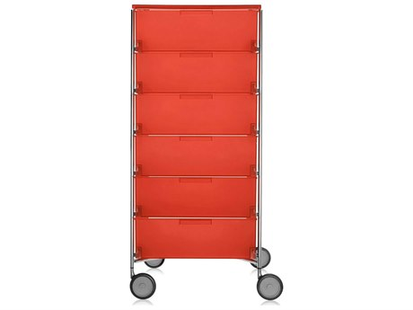 Kartell Mobil Orange 19'' Wide Rectangular Six Drawers Chest of Drawers with Wheels