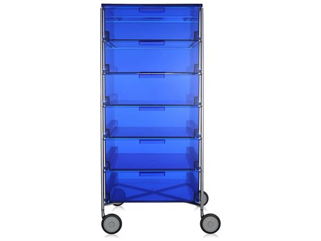 Kartell Mobil Transparent Blue 19'' Wide Rectangular Six Drawers Chest of Drawers with Wheels