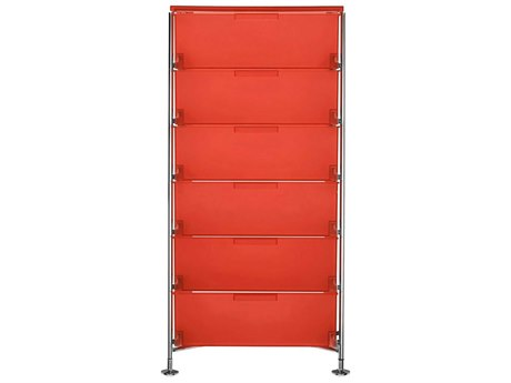 Kartell Mobil Orange 19'' Wide Rectangular Six Drawers Chest of Drawers without Wheels