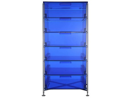 Kartell Mobil Transparent Blue 19'' Wide Rectangular Six Drawers Chest of Drawers without Wheels
