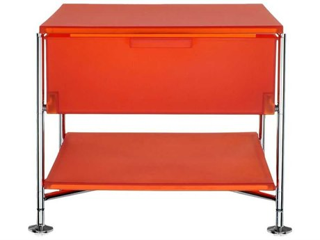 Kartell Mobil Orange 19'' Wide Rectangular One Drawer Nightstand without Wheels