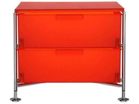 Kartell Mobil Orange 19'' Wide Rectangular Two Drawers Nightstand without Wheels KAR2005L4