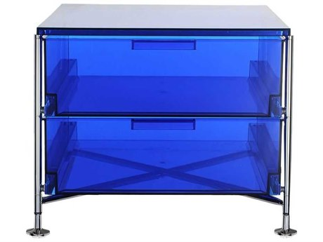 Kartell Mobil Transparent Blue 19'' Wide Rectangular Two Drawers Nightstand without Wheels KAR2005L7