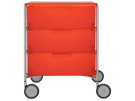 Kartell Mobil Orange 19'' Wide Rectangular Three Drawers Nightstand with Wheels KAR2010L4