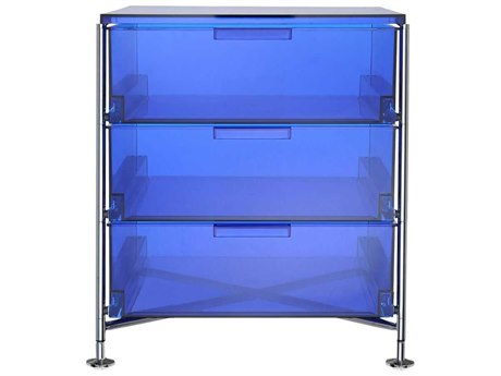 Kartell Mobil Transparent Blue 19'' Wide Rectangular Three Drawers Nightstand without Wheels KAR2011L7