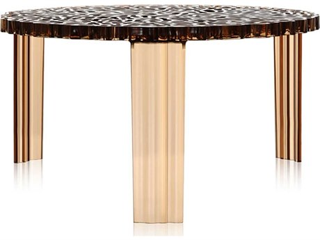 Kartell T-Table Transparent Amber 20''Dia x 11''H Round Coffee Table KAR8500AM