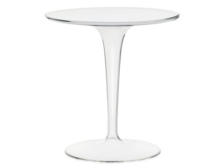 Kartell Tip Top Transparent Crystal 19'' Wide Round Pedestal Table KAR8600B4