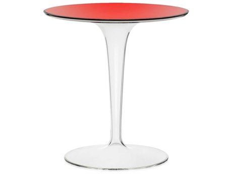 Kartell Tip Top Transparent Red 19'' Wide Round Pedestal Table KAR8600V5