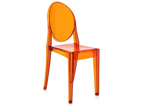 Kartell Victoria Ghost Transparent Orange Dining Side Chair (Sold in 2) KAR4857E3