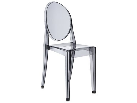 Kartell Victoria Ghost Transparent Smoke Grey Dining Side Chair (Sold in 2)