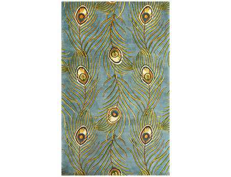 KAS Rugs Catalina Blue Peacock Feathers Area Rug KG739