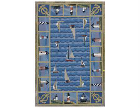 KAS Rugs Colonial Blue Light Houses Area Rug KG1335