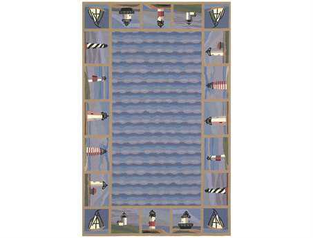 KAS Rugs Colonial Blue Lighthouse Waves Area Rug KG1802