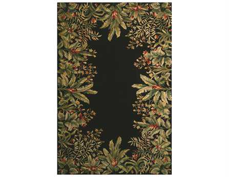 KAS Rugs Emerald Black Tropical Border Area Rug KG9001