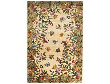 KAS Rugs Emerald Antique Beige Butterfly Garden Area Rug KG9019