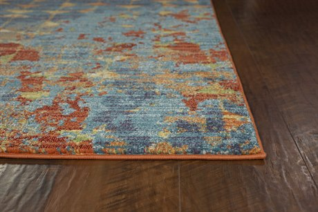 Kas Rugs Illusions Blue & Coral Elements Rectangular Area Rug